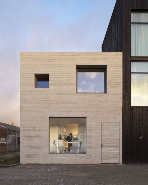 Completed in 2015 in Deventer, The Netherlands. Images by Christian van der Kooy . This is a house for two young people in an old industrial harbor area in Deventer, the Netherlands. The harbor has lost its original function however...