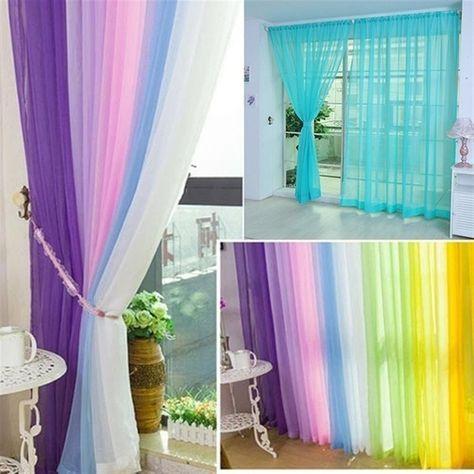 270cm x 100cm Pure Color Tulle Window Curtain Drape Panel Sheer Scarf Valances