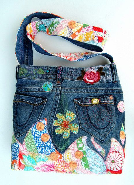 Peony Pink large denim wearable art cross body bag embellished with quilted appliques