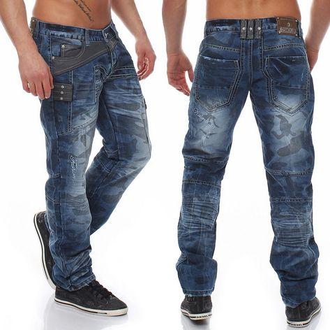 Jeans Herren Hose Denim Vintage Destroyed Used Look Chino Japan Kosmo Style Blau
