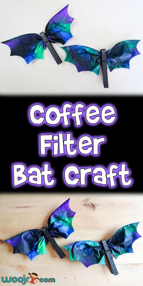 october crafts for kids Today I'm going to show you this super cute Coffee Filter Bat Craft that's great for Halloween decorating or even a theme unit about bats. Halloween Bebes, Halloween Crafts For Kids, Fall Halloween, Holiday Crafts, Holiday Fun, Autumn Crafts, Halloween Kid Activities, Halloween Party, Homemade Halloween Decorations