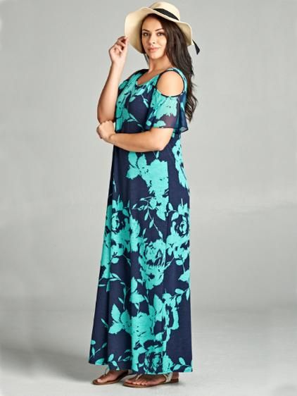 Athena Cold Shoulder Chiffon Sleeve Plus Size Maxi Dress ...