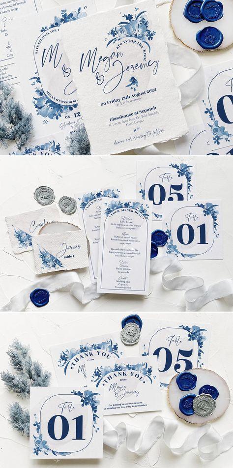 Elegant Delft Blue Wedding Suite Design PSD