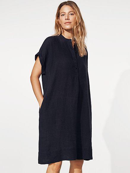 Puckered Organic Linen Shirtdress Eileen Fisher In 2020 Organic Linens Shirt Dress Style Shirt Dress