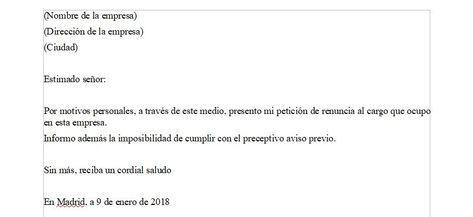 Imagen Carta De Renuncia Voluntaria Sin Preaviso Carta De