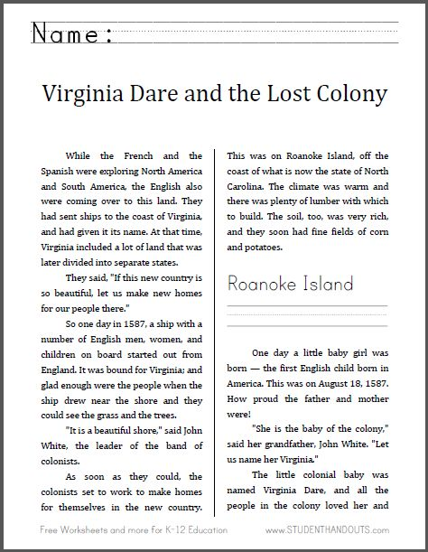 Virginia Dare and the Lost Colony of Roanoke | Here is the seventh