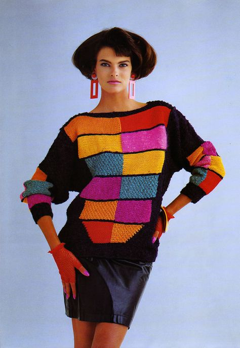 Oversized Jumper Sweater Colour Block Colourful Eighties Fashion