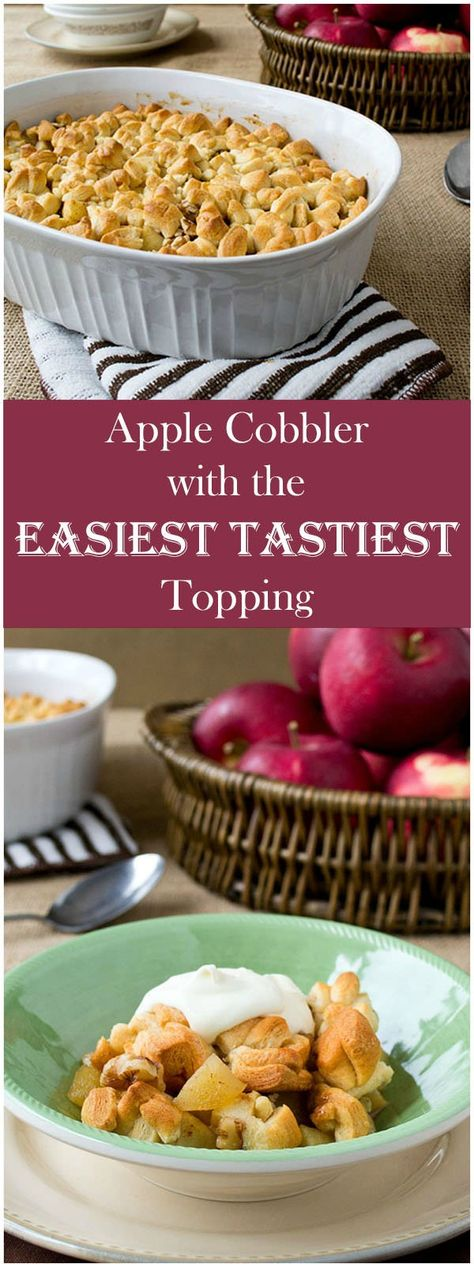 This apple cobbler recipe is as classic-tasting as they come, but it's got the easiest, tastiest topping ever. #veggierecipes #vegetarianrecipes #vegetarianfood#dessert #dessertrecipes#easyentertaining #entertaining