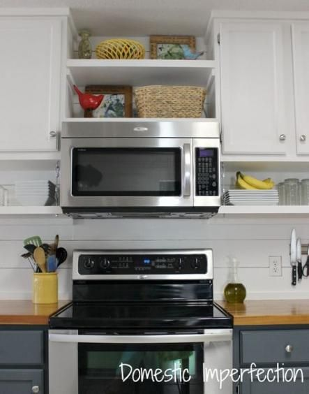 28 Ideas Kitchen Open Shelving Microwave Upper Cabinets Diy Kitchen Shelves Kitchen Shelves Microwave Range Hood