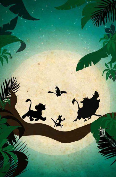 Fondo de pantalla para celular de Disney; wallpaper de siluetas de Simba, Timón, Pumba y Zazú cuando cantan Hakuna Matata