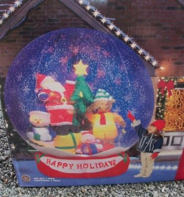 Huge 8ft Lighted Airblown Inflatable Santa Friends Snowing Snowglobe w Box | eBay