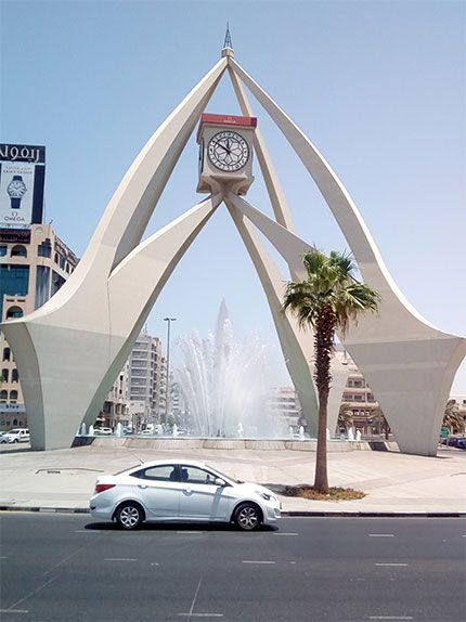 Dubai Clock Tower Is A Beautiful Round About In Dubai Its Located