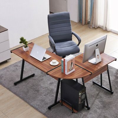 Office Desk Corner L Shaped Workstation With Keyboard Tray And Cpu