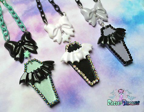 coffin bat necklace Pastel Goth, Soft Grunge, kawaii,soft grunge,harajuku,fairy kei,creepy cute