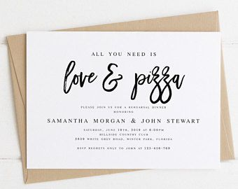 All You Need Is Love And Pizza Rehearsal Dinner Invitation Template Modern Dinner Invitation Template Pizza Party Rehearsal Dinner Rehearsal Dinner Invitations