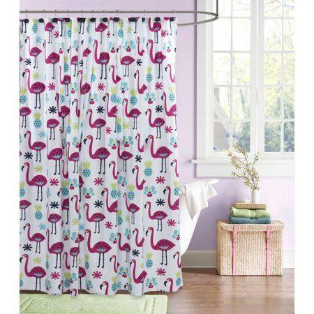 Home Flamingo Shower Curtain Shower Waterproof Liner
