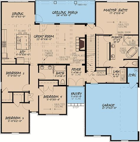 Plan 70551mk European Style House Plan With Master Suite With Laundry Access Floor Plan Design House Plans Architectural Design House Plans