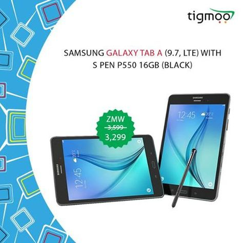 Order #Samsung #GalaxyTabA (9.7, LTE) with #SPen Online at #Tigmoo on a special #saleprice of ZMW 3299  Order now for a #quickdelivery: https://www.tigmoo.com/samsung-galaxy-tab-a-9-7-lte-with-s-pen-p550-16gb-black.html
