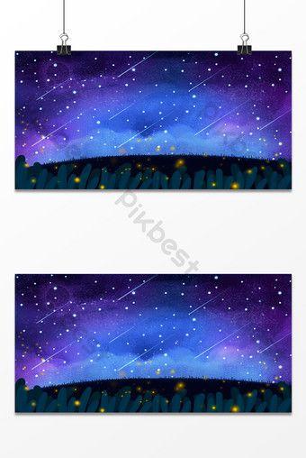الخيال السماء المرصعة بالنجوم نجوم النيزك صورة الخلفية خلفيات Psd تحميل مجاني Pikbest Illustration Natural Landmarks Starry