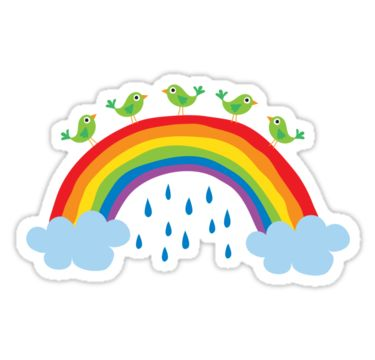 Cute sticker featuring a cartoon illustration of green birds standing on top of a rainbow with blue raindrops.