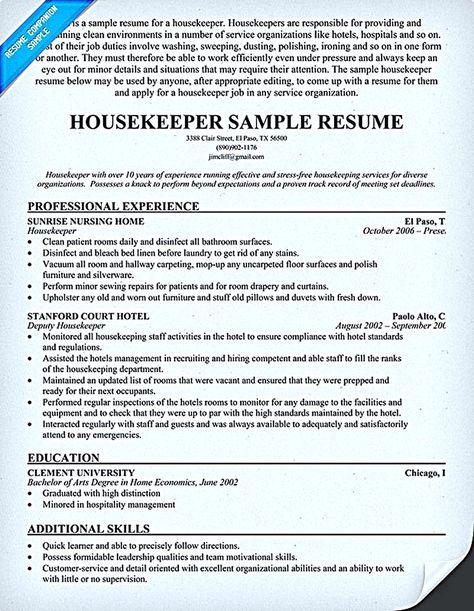 resume #housekeeper work related Pinterest Sample resume - quick learner resume