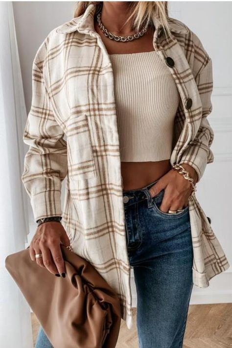 The jacket that has us excited for Winter 2021 -- Meet the Rocky Mountain Plaid Jacket in beige and brown! So comfy + cozy. That relaxed + loose fit that is so effortlessly flattering. Think, Free People vibes. Throw it on over anything to up-level and add the coolest vibe. Yep, you'll be living in it all season long! -Cool girl vibesThere's not a big difference between the small, medium and large.-The coolest plaid pattern we've ever seen-Prettiest colorway-- warm + cool tones of beige + brown- Flannel Jacket, Shirt Jacket, Shirt Outfit, Plaid Flannel, Flannel Shirt, Trend Fashion, Fashion Sale, Fashion Ideas, Flannel Outfits