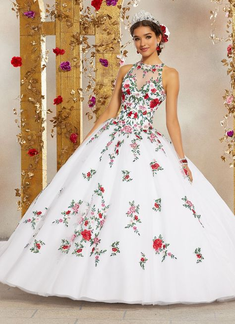 High Neck Floral Embroidered Quinceanera Dress by Mori Lee Valentina 3 – ABC Fashion