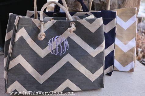 Monogrammed Chevron Stripes Jute Tote Bag. $28.