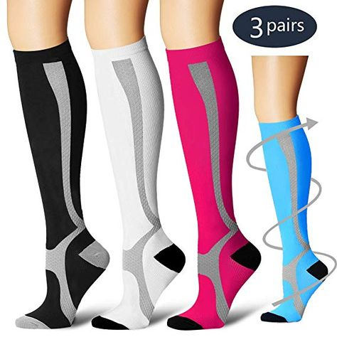 2bc0acb77e Amazon.com: BLUETREE Compression Socks,(3 pairs) Compression Sock for Women  & Men,Best Medical, Nursing, for Running, Athletic, Edema, Varicose Veins.,  ...