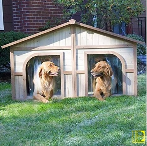 Bring Home A Comfortable Spacious Gift For The Lovable Pets In Your Life With The Wooden Outdoor Duplex Dog Kenne Large Dog House Dog House Diy Wood Dog House