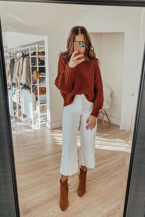 East thanksgiving outfit Source by simple outfits cold weather Booties Outfit, Outfit Jeans, Outfit With White Pants, Outfit With Brown Boots, White Culottes Outfit, White Pants Fashion, Flowy Pants Outfit, Black Dress Outfits, Skirt Outfits