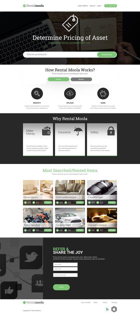 RentalMoola concept Hi-Fi Visual Design.