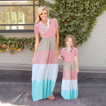 Summer Family Mother Daughter Matching Clothes Mom Kids Girl Long Stripes Dress