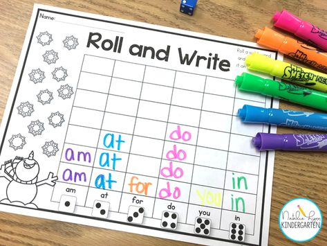 We love to play roll and write- it's one of our favorite kindergarten sight word activities. Best of all, it's editable so I can type in the sight words my kindergarten students need! Preschool Sight Words, Teaching Sight Words, Sight Word Practice, Sight Word Activities, Learning Activities, Kindergarten Sight Word Games, Pre K Sight Words, Sight Word Bingo, Sight Word Worksheets