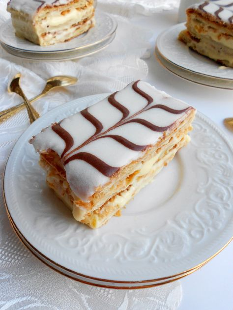 After months and months of putting it off, this week I finally conquered the popular French pastry, mille-feuille. Also known as Napoleon, to us American folk. In Italy, it is referred to as