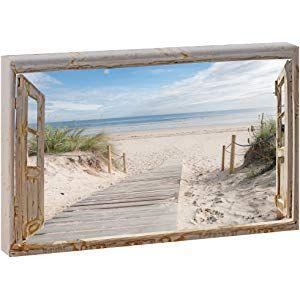 Fensterblick Weg Zum Strand 3 Panoramabild Im Xxl Format