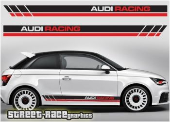 Audi A1 Racing Stripes Graphics Stiker Mobil Mobil Stiker