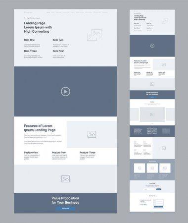 페이지 디자인 비즈니스용 와이어 프레임 페이지의 사이트 레이아웃 템플릿 현대적