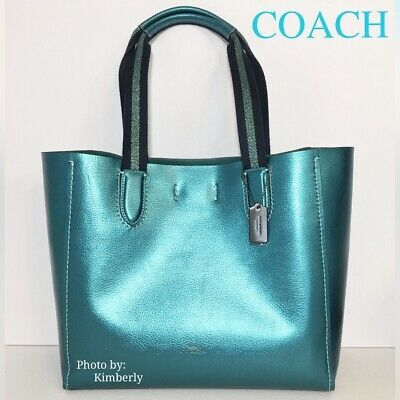 Coach Derby Tote Bag Metallic Iridescent Leather Purse F39675 Nwt Leather Purses Coach Leather Bag Tote Bag Purse