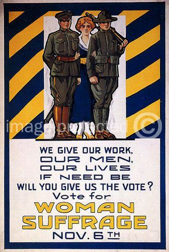 Vintage USA World War One Poster Woman Suffrage 24x36