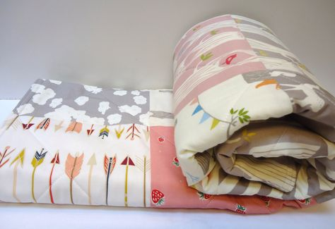 Modern Baby Girl Quilt-Rustic Woodland Organic Birch Fabrics-Arrows-Woodland Party-Buck-Deer-Tree Stripe-Pink-Gray-Baby Blanket by NowandThenQuilts on Etsy https://www.etsy.com/listing/242975474/modern-baby-girl-quilt-rustic-woodland