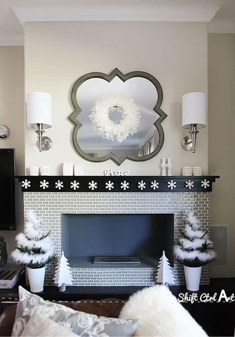 Deck the halls snowflake garland - beautiful winter fireplace mantel