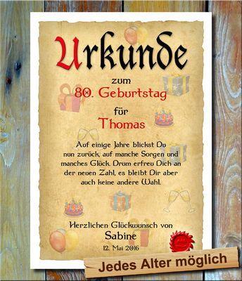 Urkunde 80 Geburtstag Geschenke Ein Hochwertige Urkunde Mit