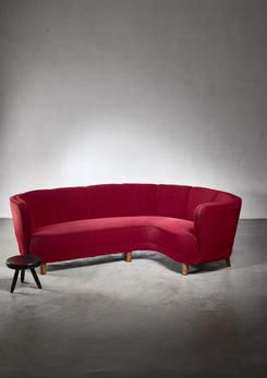A Large 1930s 40s Danish Corner Sofa With The Original Dark Red Upholstery This Sofa Is Extremely Well Made Strong Solid And Heavy With Elegant Lining It B