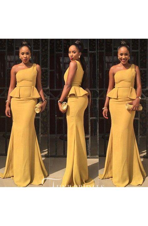 Sexy One Shoulder Mermaid Yellow Prom Dress 2018 Ruffles Sweep Train - June Bridals