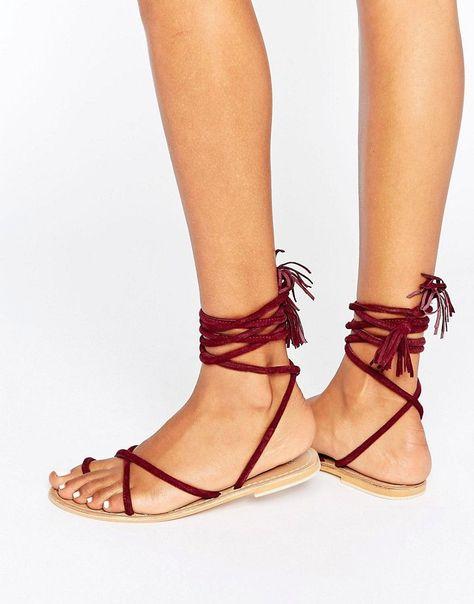 2dc899cbc4a ASOS FALIA Suede Tie Leg Flat Sandals - Red