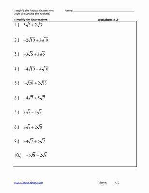 Simplifying Radical Expressions Worksheet Answers Best Of 13 Best Of Simplifying Radicals Mat Simplifying Radical Expressions Radical Expressions Radicals Math