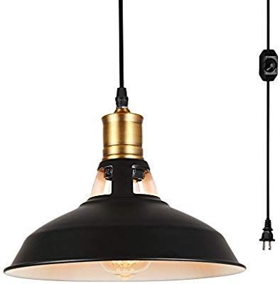 Hanging Lights With Plug In Cord And On Off Dimmer Switch Hmvpl Upgraded Industrial Barn Metal Swag Pendant Light Fixtures Hanging Chandelier Black Chandelier