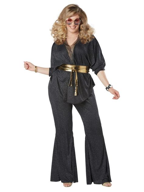 Plus Size Disco costume. Hey there foxy lady! It's time to get those dazzling disco shoes on and slip in to this Disco Dazzler Plus Size Womens Costume. Go show that dance floor what you're made of!
