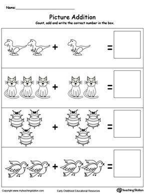 Addition With Pictures Dinosaur Kindergarten Addition Worksheets Beginning Math Kindergarten Worksheets